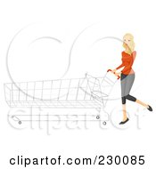 Royalty Free RF Clipart Illustration Of A Blond Shopping Woman Pushing A Long Cart by BNP Design Studio