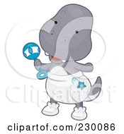 Royalty Free RF Clipart Illustration Of A Cute Baby T Rex Dino Wearing A Diaper And Holding A Rattle