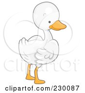 Royalty Free RF Clipart Illustration Of A Cute White Goose Looking Back by BNP Design Studio