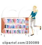 Woman Pushing A Rolling Shelf Of Books In A Library
