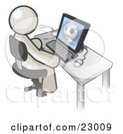 Clipart Illustration Of A White Doctor Man Sitting At A Computer And Viewing An Xray Of A Head