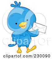 Royalty Free RF Clipart Illustration Of A Cute Blue Bird Holding An Envelope by BNP Design Studio
