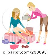 Royalty Free RF Clipart Illustration Of A Woman Helping A Customer Try On Shoes In A Store