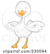 Royalty Free RF Clipart Illustration Of A Cute White Goose by BNP Design Studio