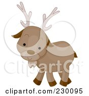 Royalty Free RF Clipart Illustration Of A Cute Caribou by BNP Design Studio
