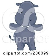 Royalty Free RF Clipart Illustration Of A Happy Hippo Standing by BNP Design Studio