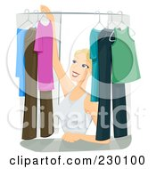 Royalty Free RF Clipart Illustration Of A Pretty Woman Organizing Clothes In Her Closet by BNP Design Studio