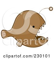 Royalty Free RF Clipart Illustration Of A Cute Brown Anglerfish by BNP Design Studio