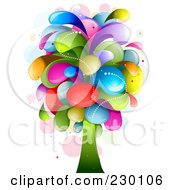 Royalty Free RF Clipart Illustration Of A Rainbow Splash Tree by BNP Design Studio