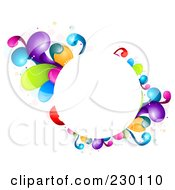 Royalty Free RF Clipart Illustration Of A Circular Frame Bordered In Rainbow Splashes