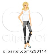 Royalty Free RF Clipart Illustration Of A Casual Blond Woman Standing