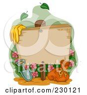 Royalty Free RF Clipart Illustration Of Garden Gloves By A Shovel And Bag With Flowers An A Blank Wood Sign