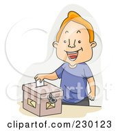 Royalty Free RF Clipart Illustration Of A Happy Male Voter Sticking His Ballot In A Box Over Gray