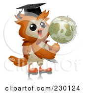 Professor Owl Holding A Globe
