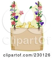 Royalty Free RF Clipart Illustration Of A Pair Of Birds On A Hanging Garden Sign With Floral Vines