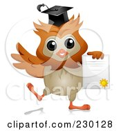 Royalty Free RF Clipart Illustration Of A Professor Owl Holding A Diploma