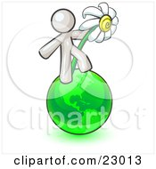 White Man Standing On The Green Planet Earth And Holding A White Daisy Symbolizing Organics And Going Green For A Healthy Environment