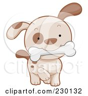 Royalty Free RF Clipart Illustration Of A Cute Puppy With A Bone by BNP Design Studio
