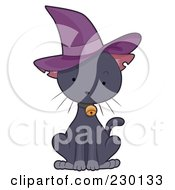 Royalty Free RF Clipart Illustration Of A Cute Black Kitten Wearing A Purple Witch Hat