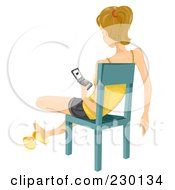 Royalty Free RF Clipart Illustration Of A Teen Girl Sitting In A Chair And Texting On Her Cell Phone