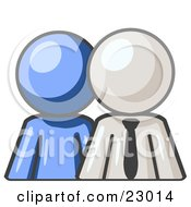 Clipart Illustration Of A Blue Person Standing Beside A White Businessman Symbolizing Teamwork Or Mentoring by Leo Blanchette