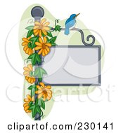 Blue Bird On A Blank Sign Post With Orange Flowers
