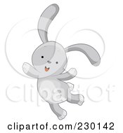 Royalty Free RF Clipart Illustration Of A Cute Gray Rabbit Jumping