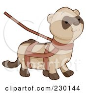 Royalty Free RF Clipart Illustration Of A Cute Ferret On A Harness And Leash by BNP Design Studio