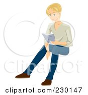 Royalty Free RF Clipart Illustration Of A Blond Man Sitting And Reading by BNP Design Studio