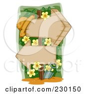 Royalty Free RF Clip Art Illustration Of A Garden Hat With Yellow Flowers And Two Wooden Arrow Signs by BNP Design Studio