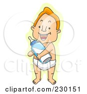 Royalty Free RF Clipart Illustration Of A Grown Man Holding A Baby Bottle Over Yellow by BNP Design Studio