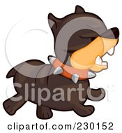 Royalty Free RF Clipart Illustration Of A Mad Brown Bulldog Running by BNP Design Studio