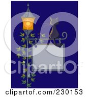 Royalty Free RF Clipart Illustration Of A Black Cat Sitting On A Sign Post With A Vine And Lamp At Night