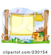 Royalty Free RF Clipart Illustration Of A Blank Baby Blanket Sign Hanging On A Clothes Line With A Cloth Diaper by BNP Design Studio