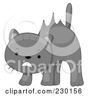 Royalty Free RF Clipart Illustration Of A Scared Gray Cat