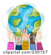 Royalty Free RF Clipart Illustration Of Diverse Hands Supporting A Globe