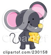 Royalty Free RF Clipart Illustration Of A Cute Gray Mouse Eating Cheese