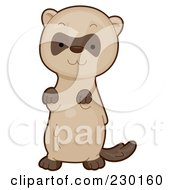 Royalty Free RF Clipart Illustration Of A Cute Ferret Begging