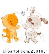 Royalty Free RF Clipart Illustration Of A Cute Kitten And Puppy Dancing