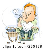 Royalty Free RF Clipart Illustration Of A Gross Man Chain Smoking Over Blue