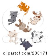 Royalty Free RF Clipart Illustration Of Cats And Dogs Raining
