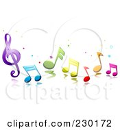 Royalty Free RF Clipart Illustration Of Colorful Music Notes And Stars by BNP Design Studio
