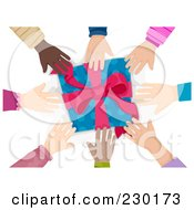 Royalty Free RF Clipart Illustration Of Diverse Hands Reaching For A Present by BNP Design Studio