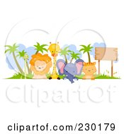 Royalty Free RF Clipart Illustration Of A Cute Animal Border Sign