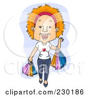 Royalty Free RF Clipart Illustration Of A Happy Woman Shopping Over Blue