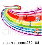 Royalty Free RF Clipart Illustration Of A Rainbow Wave With Music Notes Background 2 by BNP Design Studio