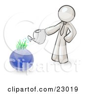 White Man Using A Watering Can To Water New Grass Growing On Planet Earth Symbolizing Someone Caring For The Environment