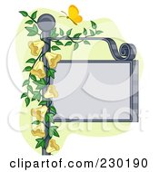 Butterfly Over A Blank Sign Post With Yellow Flowers