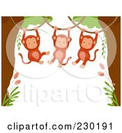 Royalty Free RF Clipart Illustration Of A Cute Animal Border Of Hanging Monkeys Around White Space