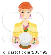 Royalty Free RF Clipart Illustration Of A Friendly Female Fortune Teller With A Crystal Ball by BNP Design Studio
